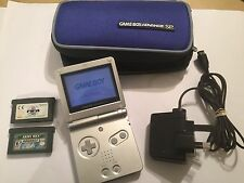 SILVE NINTENDO GAMEBOY ADVANCE SP console + giochi Bundle SPADA DI MANA DIGIMON + +