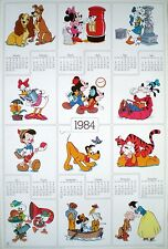 ORIGINAL POSTER VINTAGE '80 THE WORLD OF DISNEY 1984 CALENDAR CALENDARIO DISNEY
