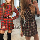 UK Womens Fashion Casual Tartan Check Party Shirt Mini Dress Ladies Long Tops