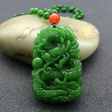 China's natural hand carved jade dragon pendant, agate necklace