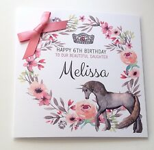 Personalised Unicorn Birthday Card  Daughter 7 8th 9th 10th 11th 12th 13th 14th