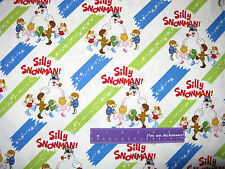Frosty The Snowman Christmas Magic Silly Kids Cotton Fabric BY THE HALF YARD