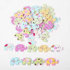 50Pcs Bulk Cute 2 Holes Elephant Baby Wooden Sewing Buttons Scrapbooking New