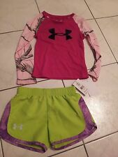 NWT Girls Under Armour lot shirt jersey & shorts sz 4 UA summer LOT