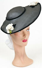 40s Original  Black Wide Wavy Brimmed Fine Woven Hat with a Floral Decoration