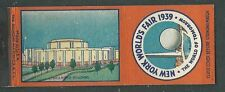 1939 NY WORLDS FAIR MATCH BOOK COVER THE RAIL ROAD BLDG
