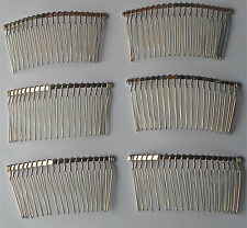 6 X Silver Tone Hair Combs Fascinator Wedding for DIY Craft UK Seller 37x77mm H3