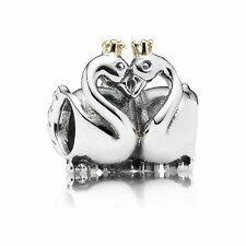 Pandora S925 Ale Gold Swan Charm With Tissue And Pop-up Box