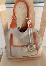 Tod's Beige  Canvas Tote Handbag Orange Leather Trim & Handles Medium Pre-owned