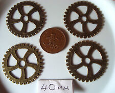 4 STEAMPUNK COGS/GEARS EACH PIECE IS 40MM  AND IS BRONZE IN COLOUR  METAL ALLOY