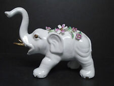 """Porcelain Elephant Figurine w/Raised Flowers & Gold Accents 6.5"""" Tall Ex. Cond."""