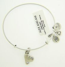 NEW ALEX AND ANI CUPID'S HEART CHARM BANGLE WITH SILVER FINISH 85