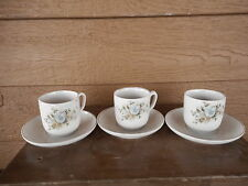 Vintage Child's Cup Set 3 cups w saucers Used Some chips blue flowers