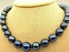 """New 10-11mm Tahitian Black Natural Pearl Necklace 18"""" AA+"""