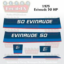 1975 Evinrude 50 HP Two Stroke Outboard Reproduction 6 Piece Marine Vinyl Decals