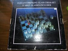 NEW All Glass Chess Set Drinking Game In Box Shotglass Chessmen