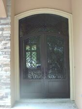 Double Wrought iron door, Forged door Glass included