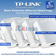TP-LINK 500Mbps Nano Powerline Ethernet Home Plug Wired Networking Gaming UK X 4