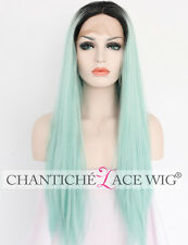 Women's Ombre Synthetic Hair Lace Front Wigs Light Green Straight Heat Resistant