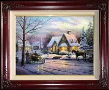 Thomas Kinkade DBL SIGNED Memories of Christmas 18x24 S/N Limited Edition Canvas