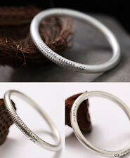 Wrist Gift 925 Sterling Silver 7mm Hollow Bangle with The Heart Sutra Size 62mm