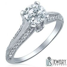 0.78 Carat (0.46) E/VS1 100% Natural Round Cut Diamond Engagement Ring 14k Gold