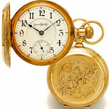 24 Jewels Bunn Special Railroad Grade Pocket Watch 14K Gold Hunter Case CA1898