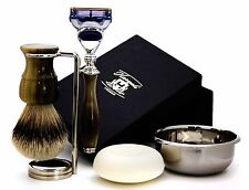 BRASS & BLACK HANDLE SET OF 5 INCLUDES (SLIVERTIP BADGER BRUSH & GILLETTE RAZOR)