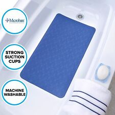 "15"" x 27"" Rubber Bath Mat: Blue SlipX Solutions In-Tub Safety Mat with Microban"