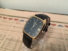 GOLD OMEGA DE VILLE MENS GENTS 1980's VINTAGE LEATHER STRAP AMAZING WATCH