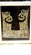 ANTIQUE CHINESE SILK EMBROIDERY  FORBIDDEN STITCHES COLLAR ROBE ELEMENTS