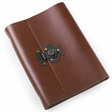 Ancicraft Refillable Leather Journal Diary With Retro Lock A5 Lined Red Brown