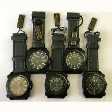MR Military New Mens Watch Wrist Black Leather Quartz Dial Sport Army Lots 5PCS