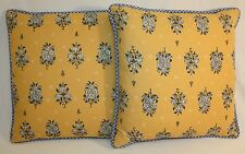 Throw Pillows Decorative Yellow Blue Floral Accent Couch Chair Bed Pillow Lot 2