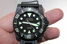 Helson Forged Carbon Shark Diver 45mm Automatic Miyota Engine Watch NEW!