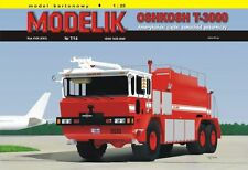 OSHKOSH T-3000 heavy airport fire engine car, paper model kit 1:25 scale