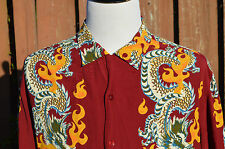 VINTAGE GUESS RED MENS M DRAGON EAGLE FIRE FLAMES HAWAIIAN CAMP ROCKABILLY SHIRT