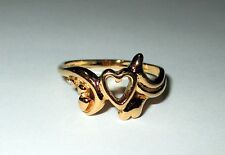 OTT Over The Top Ring Yellow Gold Clad Sterling Silver Size 6 Hearts 925