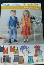 Simplicity Kid's Easy To Sew Pattern 1923A Dress Vest Capris Shirt S 1/2 1 2 3 4
