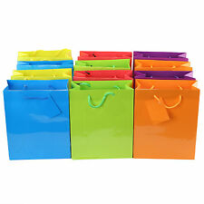 New Lot of 12 Large Bright Neon Colors Paper Gift Present Party Birthday Bags