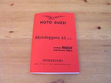 Moto GUZZI motoleggera 65cc, comité exécutif. Manuel, notice d'instructions 10. Edit. 1950