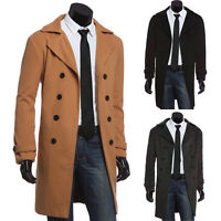 Stylish Mens Formal Long Business Coats Outwear Parka Jackets Long Trench Pecoat