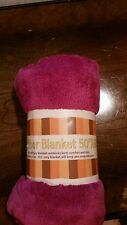 Microfiber Blanket size is 50 X 60 and color purple