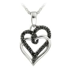925 Silver Black Diamond Accent Double Intertwining Open Hearts Necklace