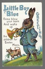 Easter Postcard Little Boy Blue Greeting Large Bunny with Blue Outfit Blows Horn