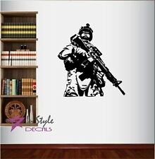 Wall Vinyl Decal USA Soldier Military Man Army Marine Weapons Art Sticker 58