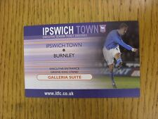 22/10/2002 Ticket: Ipswich Town v Burnley [Executive Ticket]. This item has been