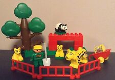 COMPLETE Vintage Lego Duplo TIGER & PANDA  FAMILY 2664 JUNGLE FRIENDS zoo lot
