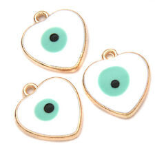 10x Charms Alloy White Blue Enamel Evil Eye Pattern Heart Gold Plated Pendants L