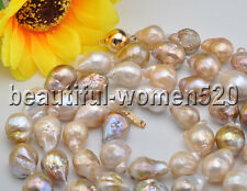 Z8240 12mm Pink Lavender Almost Round Edison Keshi Reborn Pearl Necklace 33inch